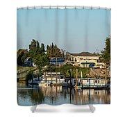 Boats In A River, Walnut Grove Shower Curtain