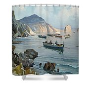 Boats In A Rocky Cove  Shower Curtain