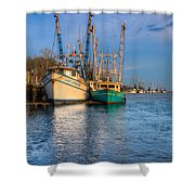 Boats In Blue Shower Curtain