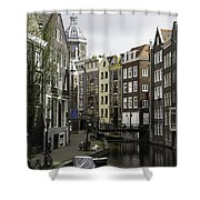 Boats In Canal Amsterdam Shower Curtain