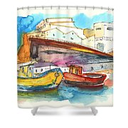 Boats In Ericeira In Portugal Shower Curtain by Miki De Goodaboom