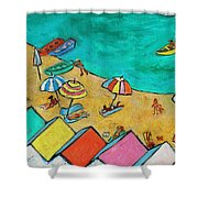 Boats In Front Of The Buildings Ix Shower Curtain