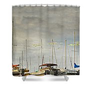 Boats In Harbor Reflection Shower Curtain