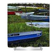 Boats In Marsh - Cape Neddick - Maine Shower Curtain