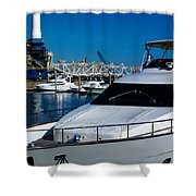 Boats In Port 2 Shower Curtain