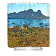 Boats In San Carlos Harbor-sonora-mexico Shower Curtain