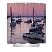 Boats In The Atlantic Ocean At Dawn Shower Curtain