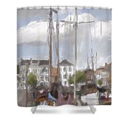 Boats In The Harbor 1905 Shower Curtain