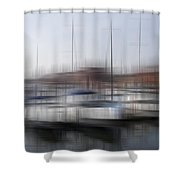 Boats In The Marina Shower Curtain