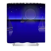 Boats In The Night Shower Curtain
