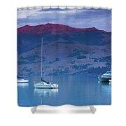 Boats In The Ocean At Dusk, Akaroa Shower Curtain