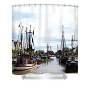 Boats In The Old Harbor Shower Curtain