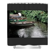 Boats In The Rain Ross Castle Ireland Shower Curtain
