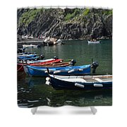 Boats In Vernazza Shower Curtain