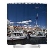 Boats Line Victoria Dock Hobar Shower Curtain