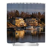 Boats Moored At Harbor During Dusk Shower Curtain
