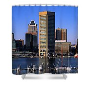 Boats Moored At Inner Harbor Viewed Shower Curtain