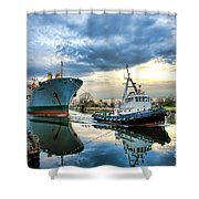 Boats On A Canal Shower Curtain