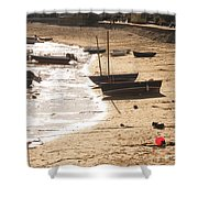 Boats On Beach 02 Shower Curtain by Pixel  Chimp