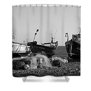 Boats On Beer Beach Shower Curtain