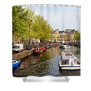 Boats On Canal Tour In Amsterdam Shower Curtain