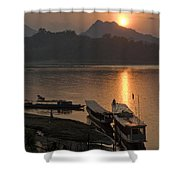 Boats On River By Luang Prabang Laos  Shower Curtain