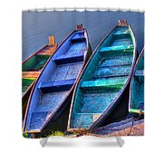 Boats On River Shower Curtain