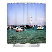Boats On The Aegean Sea 1 - Mykonos - Greece Shower Curtain
