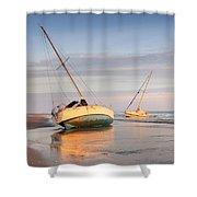 Accidentally - Boats On The Beach Shower Curtain