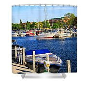 Boats On The Dock Traverse City Shower Curtain
