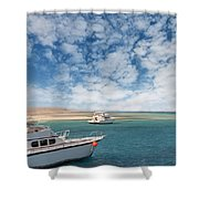 Boats On The Red Sea Coast Shower Curtain