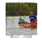 Boats On The River Shower Curtain