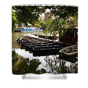 Boats On The Thames River Oxford England Shower Curtain