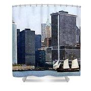 Boats - Schooner Against The Manhattan Skyline Shower Curtain