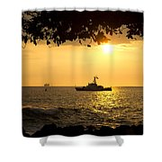 Boats Under The Hawaiian Sunset Shower Curtain