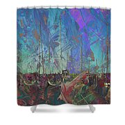 Boats W Painted Abstract Shower Curtain