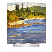 Boatsheds At Sandon Point Shower Curtain