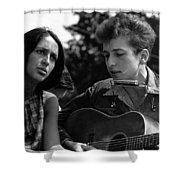 Bob Dylan And Joan Baez Shower Curtain