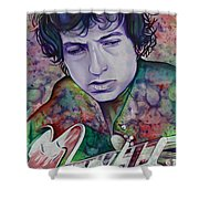 Bob Dylan-pink And Green Shower Curtain by Joshua Morton