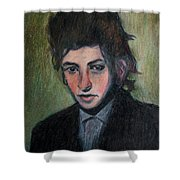 Bob Dylan Portrait In Colored Pencil  Shower Curtain
