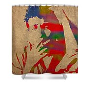 Bob Dylan Watercolor Portrait On Worn Distressed Canvas Shower Curtain