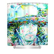 Bob Dylan - Watercolor Portrait.2 Shower Curtain