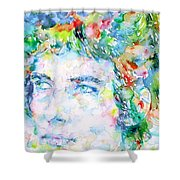 Bob Dylan Watercolor Portrait.3 Shower Curtain