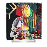Bob Marley And Rasta Lion Shower Curtain