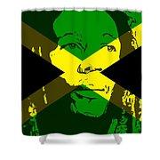 Bob Marley On Jamaican Flag Shower Curtain