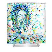 Bob Marley Playing The Guitar - Watercolor Portarit Shower Curtain