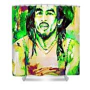 Bob Marley Watercolor Portrait.9 Shower Curtain