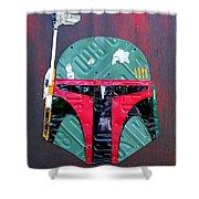 Boba Fett Star Wars Bounty Hunter Helmet Recycled License Plate Art Shower Curtain