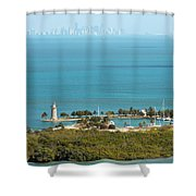 Boca Chita Lighthouse And Miami Skyline Shower Curtain