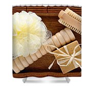 Body Care Accessories In Wood Tray Shower Curtain